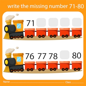 Write the missing number train eight