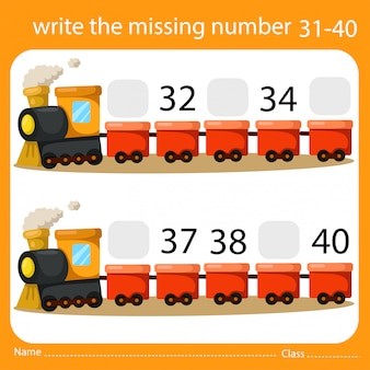 Write the missing number train four