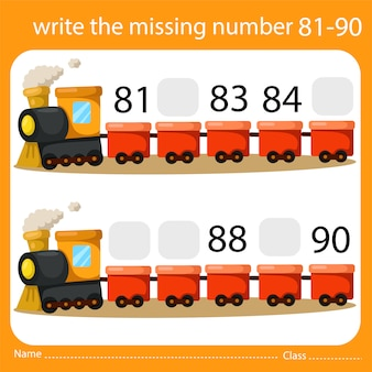 Write the missing number train nine