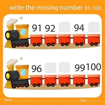 Write the missing number train ten