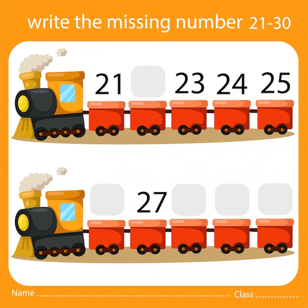 Write the missing number train three