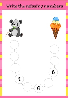 Write the missing number - worksheet for education.