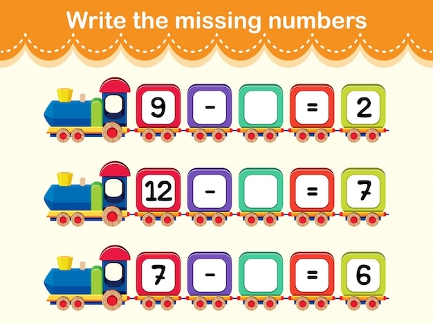 Write the missing numbers train concept