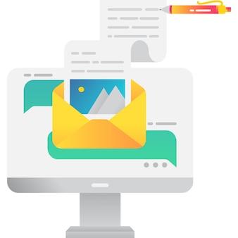 Написать онлайн текстовое сообщение электронной почты значок вектора