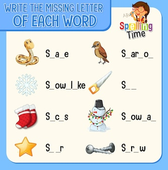 어린이를 위한 각 단어 워크시트의 누락된 글자 쓰기
