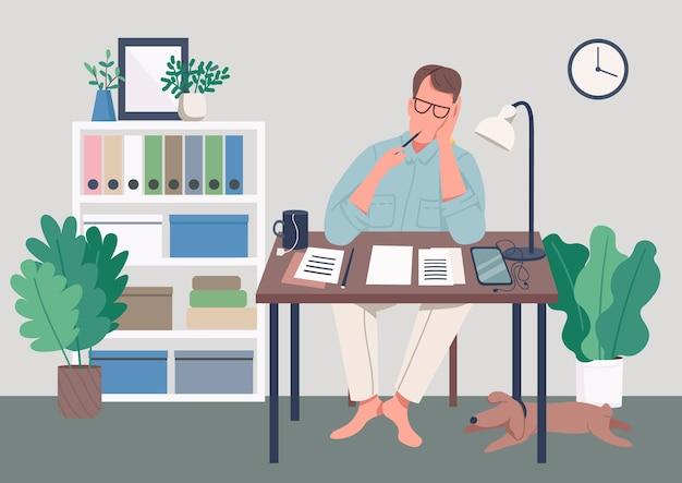 Писатель дома плоская цветная иллюстрация