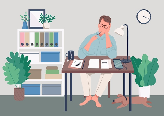 Writer at home flat color illustration