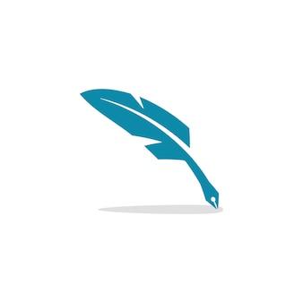 Writer notary feather pen logo
