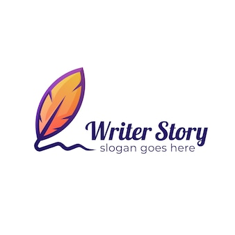 The writer story logo design with feather and pen old, signature feather logo