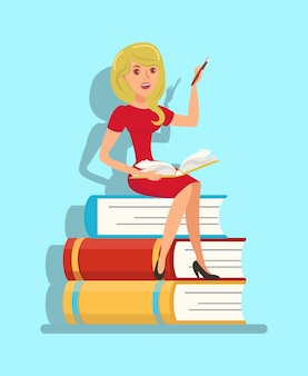 Writer, teacher sitting on book stack illustration