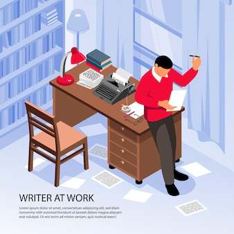Writer at work getting creative ideas at workplace isometric composition with traditional office interior objects  illustration