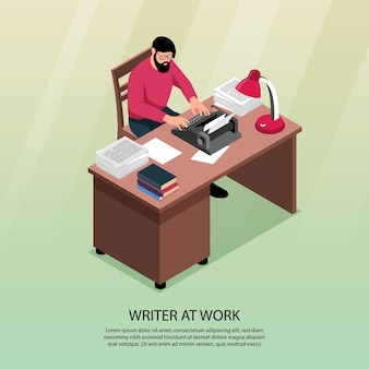 Writer at work isometric composition with traditional workplace attributes desk typewriter books paper piles