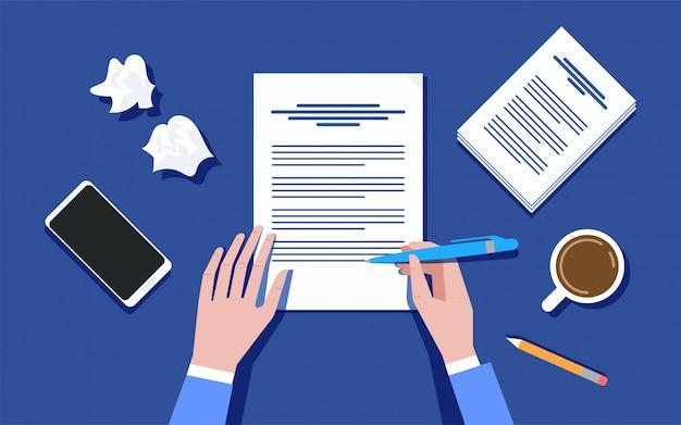 Писатель пишет на листе бумаги иллюстрации
