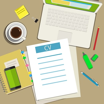 Writing a business cv resume concept. flat design