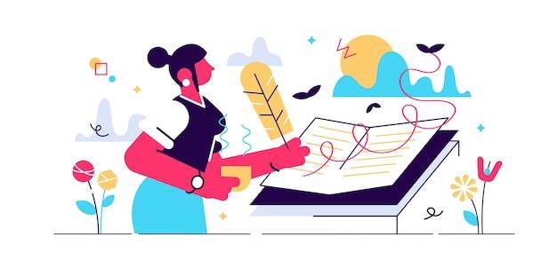 Написание дневника векторные иллюстрации. отражение частных ежедневных событий в концепции плоского крошечного человека. открытый учебник-памятка с творческим процессом фиксации рассказа. сцена с мечтательным почерком памяти автора.