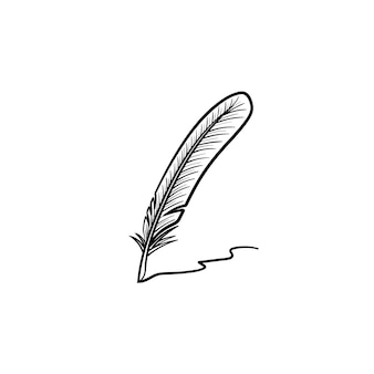 Writing feather hand drawn outline doodle icon. vector sketch illustration of writing feather for print, web, mobile and infographics isolated on white background.