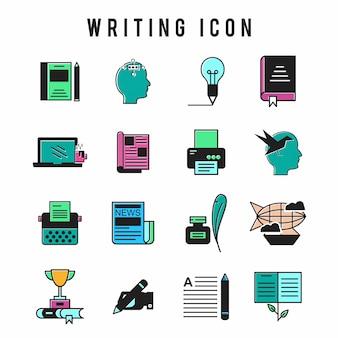 Writing icon set