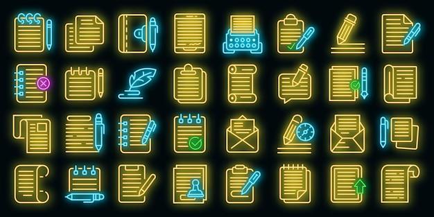 Writing icons set vector neon