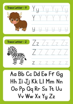 Writing letters with animals for kids