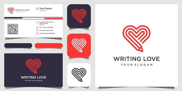 愛のロゴのテンプレートを書きます。鉛筆とハートとラインアートスタイルの組み合わせ。と名刺