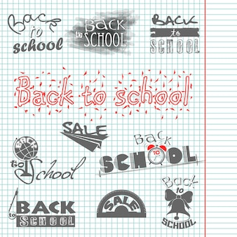Writing in a notebook. back to school. calligraphic designs. sale. vector set