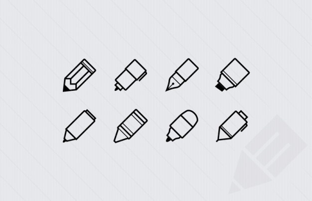 Writing outlined stroke icons