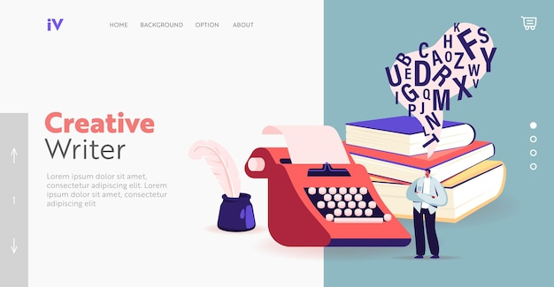 Writing poetry or novel landing page template. tiny male character writer or professional author stand at huge typewriter, inkwell and books pile create composition. cartoon people vector illustration