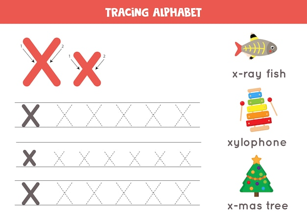 Writing practice for kids. alphabet tracing worksheet with all az letters. tracing uppercase and lowercase letter x with cute cartoon x ray fish, xylophone, xmas tree. educational grammar game.