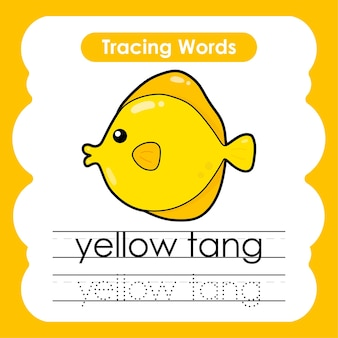 Writing practice sea life marine words alphabet tracing with y yellow tang