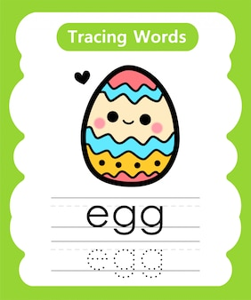 Writing practice words: alphabet tracing e - egg