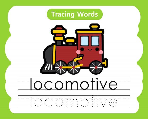 練習の言葉を書く:アルファベット追跡l-機関車