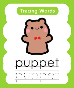 練習単語を書くアルファベットトレースp-人形