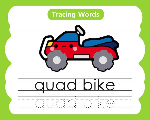 Writing practice words: alphabet tracing q - quad bike