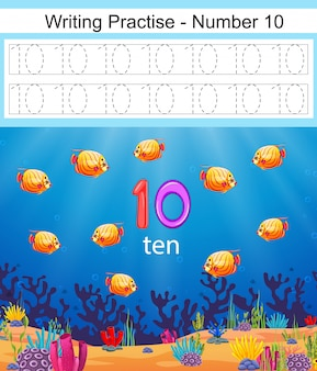 The writing practices number 10 with fish and coral underwater