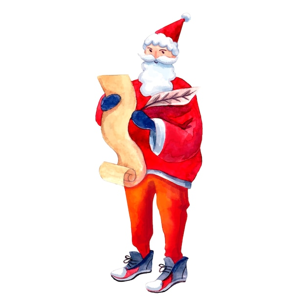 Writing santa stands with a list in his hands
