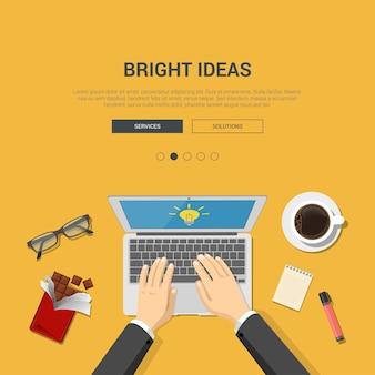 Writing text modern flat design illustration concept