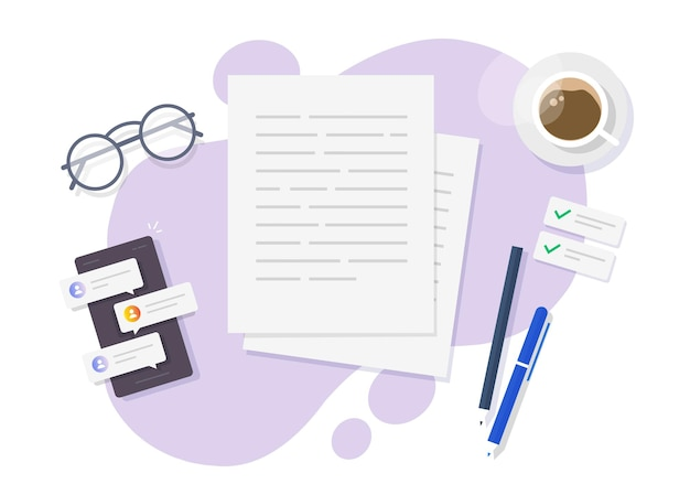 Writing text on paper flat lay on table desk or creating letter essay on author working desktop top