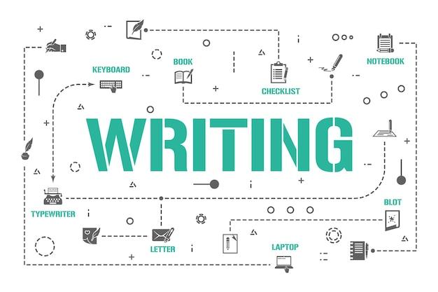 쓰기 단어 개념 배너입니다. 기본적인 철자법 책 기술. 붓글씨 텍스트 인포 그래픽입니다. 프레젠테이션, 웹사이트. ui ux 아이디어. 글리프 아이콘이 있는 격리된 레터링 타이포그래피. 벡터 평면 그림입니다.