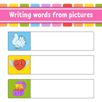 Writing words from pictures. dove, heart, ring box. education developing worksheet.