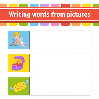 Writing words from pictures. education developing worksheet. cupid, ring box, envelope.