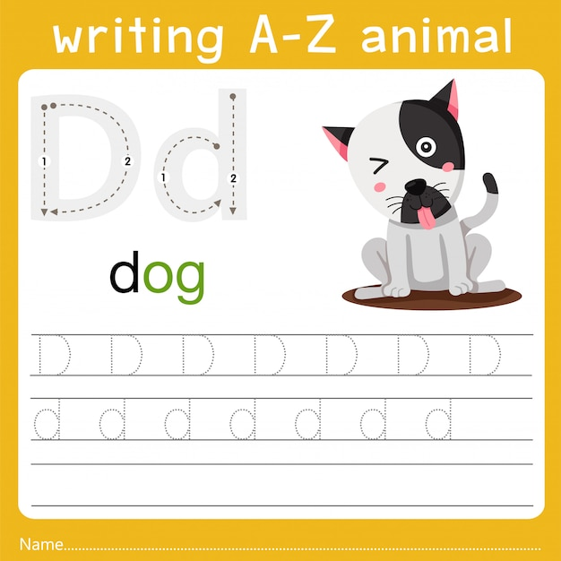 Writing a-z animal d