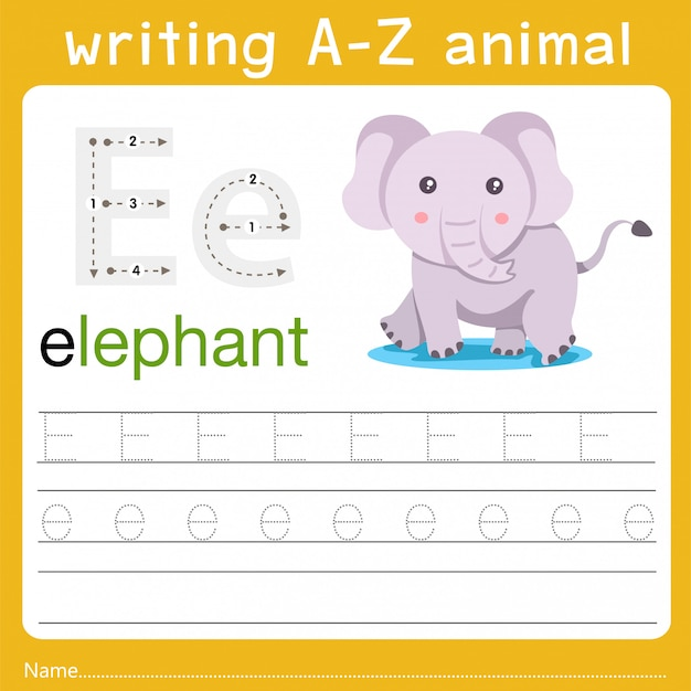 Writing a-z animal e