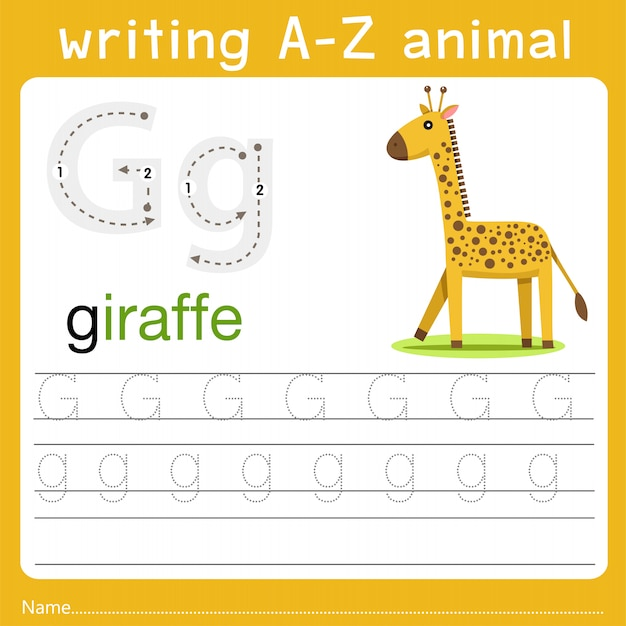 Writing a-z animal g