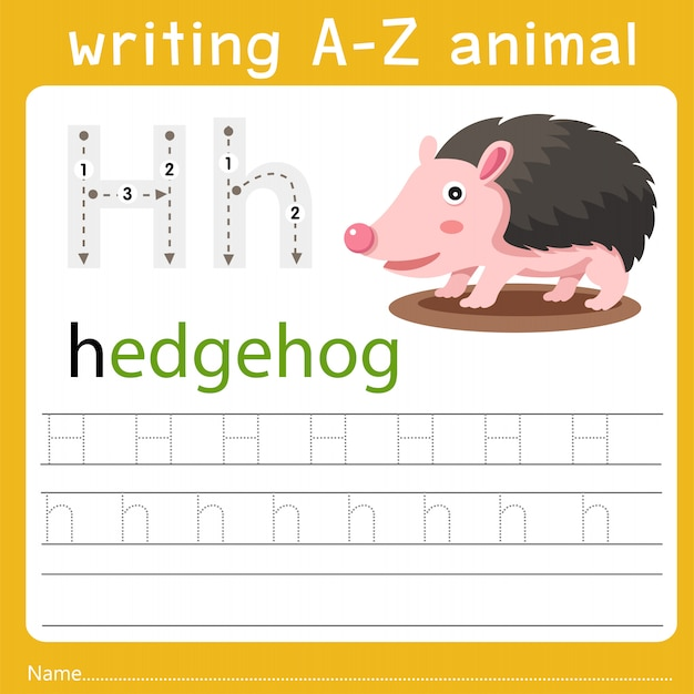 Writing a-z animal h