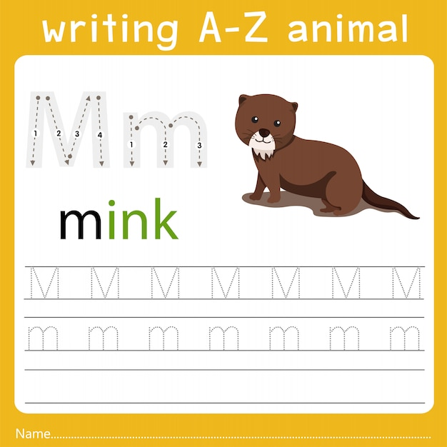 Writing a-z animal m