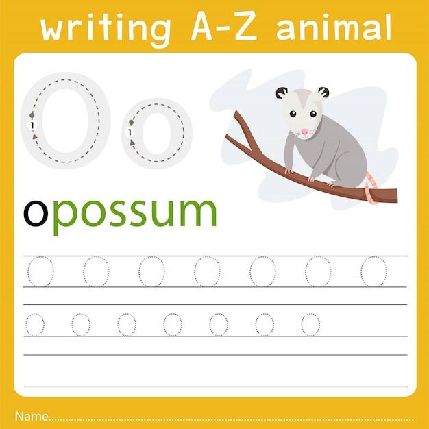 Writing a-z animal o
