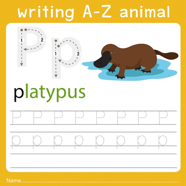 Writing a-z animal p