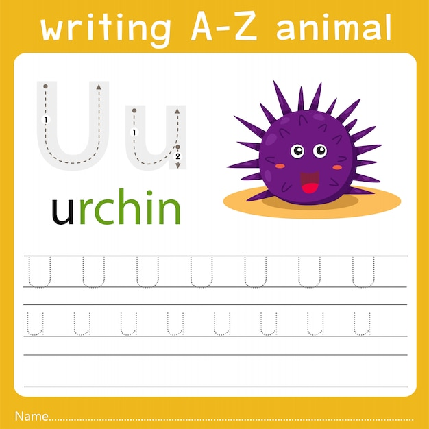 Writing a-z animal u