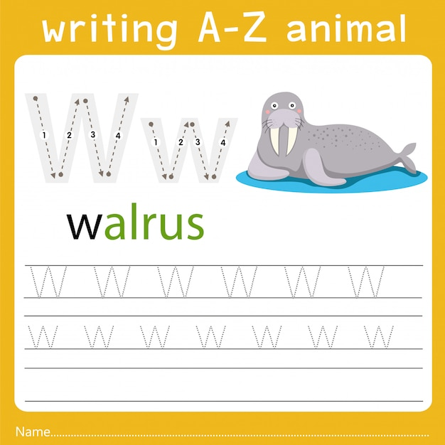 Writing a-z animal w