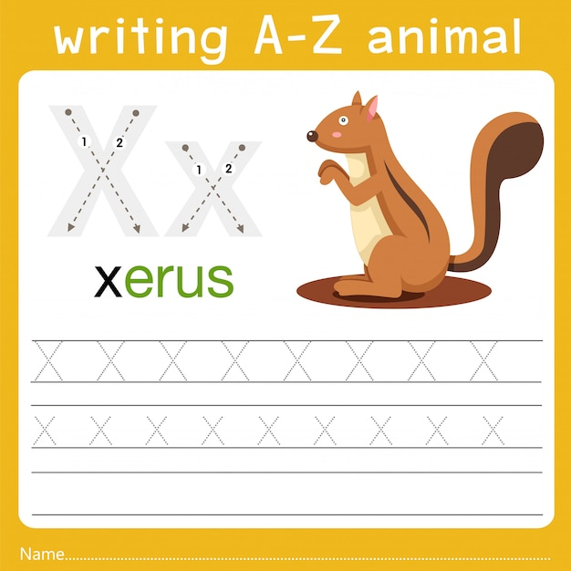 Writing a-z animal x